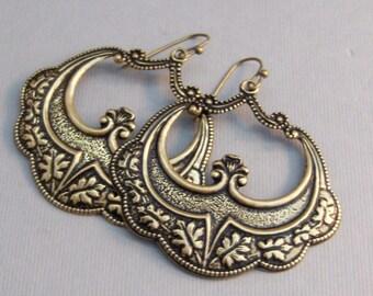 Sale Gypsy Girl,Earrings,Brass Earrings,Antique,Vintage Style,Wedding,Antique Earrings,Boho,Hamsa,Boho Earring,Hoop Earring.valleygirldesign