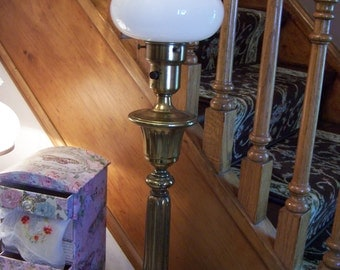 Vintage Marble &  Brass, Art Deco, Torchiere Lamp, Regency, Milk Glass Diffuser Shade
