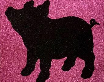 Cute Pig Glitter Art • Children's Piggy Home Decor • Kid's Barnyard Animal Piglet Art
