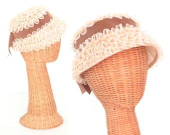 60s Hat * Ruffle Bonnet * Vintage 1960s Hat