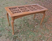 Coffee table, cocktail table, letterpress type tray table, for displaying collectible items including shells, stones, jewelry, and more.
