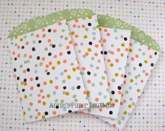 Polka Dot Paper Pockets - For Treats, Favors, Gift Cards - Sleeves, Bag, Mini Coin Envelopes, Library - for Planners, Travelers Notebooks