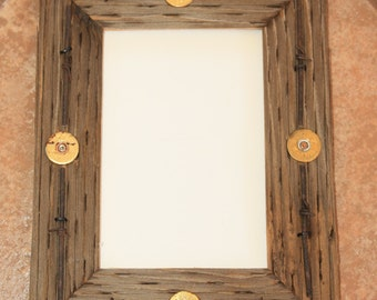 Rustic Wood Picture Frame 5 X 7 Telegraph Pole Cross Bar with Barbed Wire and Shotgun Shells