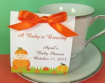 Pumpkin Baby Shower Teabag Favor- Great for a Baby Sprinkle, Fall- Set of 25