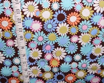 Michael Miller fabric – DAISY DELIGHT dark brown background