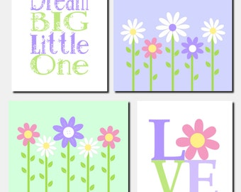 Daisy Garden Wall Art, Kids Wall Art, Baby Girl Nursery Decor, Flowers, Dream Big Little One, Love, Toddler Girls Room, Set of 4, Art Prints