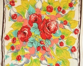 Large mid century scarf by Glentex. Floral, all silk, roses, fairies, angels, feminine, bold, yellow, red, aqua, gray, brown, oversized