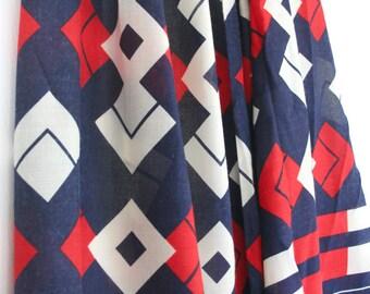 Red, blue and white Op Art inspired fabric. Retro, yardage, geometric, diamonds, squares, bold, skirt