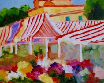 French Flower Market 12 x 12 Original Impasto Impressionist Oil Painting of French Flower Market Landscape by Rebecca Croft