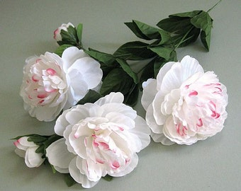 White Peony Flower 2 Artificial Silk Flowers White Flower Stem Flower White Wedding Flower Wedding Floral Arrangement Artificial Flower