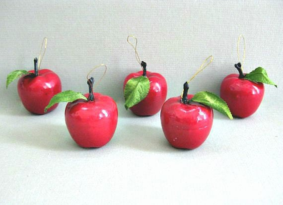 Christmas apple tree ornaments red apple decor hanging apple for Apple fruit decoration
