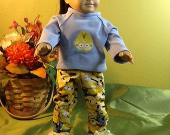 Minions PJs - American Girl Doll - Fuzzy Slippers