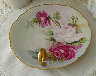 Vintage Bone China Hand Painted Roses Limoges France Candy Dish... Limoges Dessert Dish.. PL Limoges France