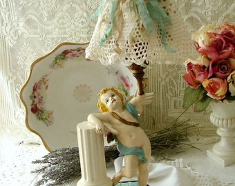 Antique Cherub Angel  Lamp with New Lace Lampshade