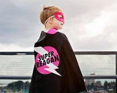 Superhero Cape Personalized Name Lightening Bolt White Lightning Black and Hot Pink , 2T - 7T, costume boy toy fast delivery Worldwide