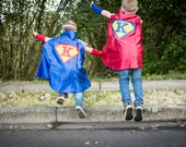 Superhero Cape Personalized Letter Diamond Red and Blue , 2T - 7T, costume, color options birthday gift fast delivery to Europe