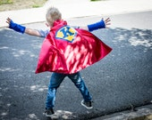 Super hero Personilized cape for Boy red/blue or blue/red cape for pretend play or Dress up costume