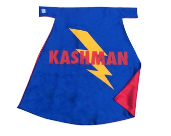 Superhero Cape Personalized Name Giant Lightening Bolt Yellow Bolt Blue and Red , 2T - 7T, super hero easy birthday gift fast ship
