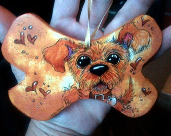 Custom Dog Bone Ornament Dangler  YOUR DOG