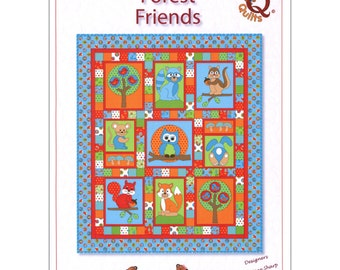 FOREST FRIENDS Quilt Pattern ~ Cute Children's Appliqué  and Pieced Quilt Sewing Pattern ~ Owl, Fox, Bunny, Mouse, Squirrel, Raccoon