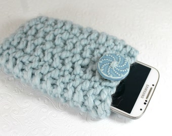 Blue Chunky Knit Phone Cozy, Blue Knit Phone Sleeve, Blue Knit Phone Sock, Back to School, Blue Phone Sleeve, Knit Blue Phone Case