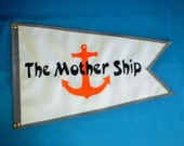 Nautical Flag Banner Custom Made Dovetailed Your Boat Name and a GRAPHIC 12x18 inch