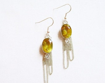Citrine Earrings, Yellow Statement Earrings,  Citrine Birthstone Handmade Earrings