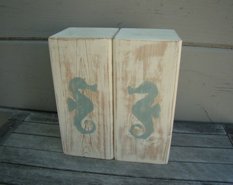 Bookends, wooden bookends, seahorse, nautical, cottage decor, distressed wood,