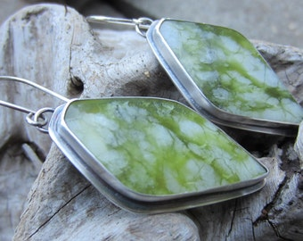 Bamboo Forest Jadeand Silver Earrings