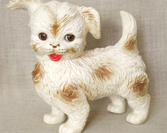 Toy Dog , Rubber Toy , Edward Mobley , Arrow Rubber , Little White Dog , Puppy , Sleepy Eyes , Spotted Dog , Small Breed , Vintage Toys