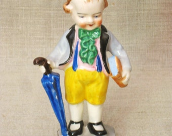 Male Child Ceramic Figurine, Young Boy, English Style, Staffordshire Style, Hand Painted, Made in Japan, Male Figure, Kids, Little Boy