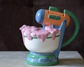 Mixer Teapot/50's Kitchen Teapot by Fitz and Floyd Ominibus Collection/Hand Painted Mixer Teapot-1994