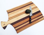 """The Coolest Hanging Large Handmade Wood Cutting Board - Hanging - Kitchen Art - 21"""" (25 with handle) x 15-1/2"""" x 7/8"""""""