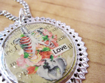 Anatomy Love Inspirational Cameo Necklace with Antique Paper from 1863 and Sterling Silver German Glass Glitter