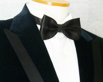 Black Satin Rhinestoned Pre-tied Adjustable Bow Tie - Black Rhinestones