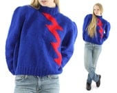 Vintage 50s Hand Knit Sweater Lightning Bolt Novelty Turtleneck Sweater Pullover Blue Wool Sweater Women's Fashion 1950s Large L