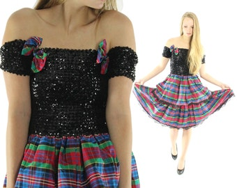 Vintage 80s Party Dress Holiday Plaid Dress Ruffled Dress Black Sequined Dress 1980s Lolita Fashion Punk