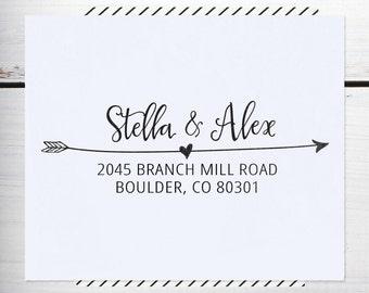 Custom Address Stamp, Return Address Stamp, Personalized Address Stamp, Calligraphy Address Stamp, - Eco Mount Address Stamp  - Stella