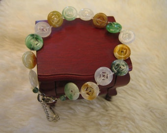 COLOURFUL ANCIENT COINS ... Natural Jade Bracelet ... handknotted jewelry