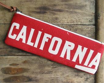 SALE California Clutch Cotton Canvas Zipper Pouch Long Pencil Case Southwestern Thunderbird Red Summer Accessories Made in Nashville USA