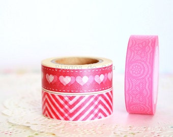 Pink Washi Tape - Choose the one you prefer - Scrapbooking - Tags - Packaging Supplies - 1 Roll - 10 mt - Ready to Ship