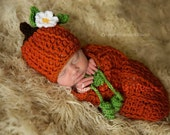 Ready to Ship, Crochet Newborn Baby Boy or Girl Mommy's Lil' Pumpkin Hat & Swaddle Sack Set, Photo Prop, Shower Gift, Halloween Costume
