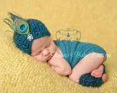 Made to order, Crochet Newborn Baby Peacock Hat and Legwarmer Set, Handmade, Girl, Photo Prop, Photography Prop, Shower Gift, Feather