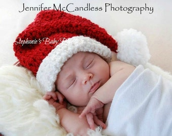 Crochet Baby Christmas Santa Claus Stocking Cap, Newborn, 0-3, 3-6 Months Custom made Holiday Pom Elf Hat Photo Photography Prop Shower gift