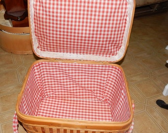 Vintage Large Woven Picnic Basket Lined with Red a White Gingham Checked Fabric and White Eyelet , Fabric Covered Flip Handles across Lid
