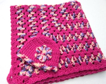 Crochet Bright Pink and Purple Granny Square Baby Afghan with Matching Hat, Baby Girl Floor Mat, Car Seat Blanket, Toddler Snuggie