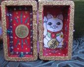 Lucky Cat mini nicho, shrine, good luck altar, folk art