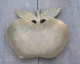 Vintage Brass Apple Dish Teacher Gift