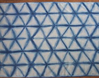 Large cotton and linen indigo shibori scarf