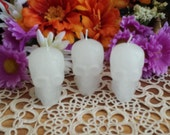 White Skull Candles, 3 Set Skull Candles, Spell Candles